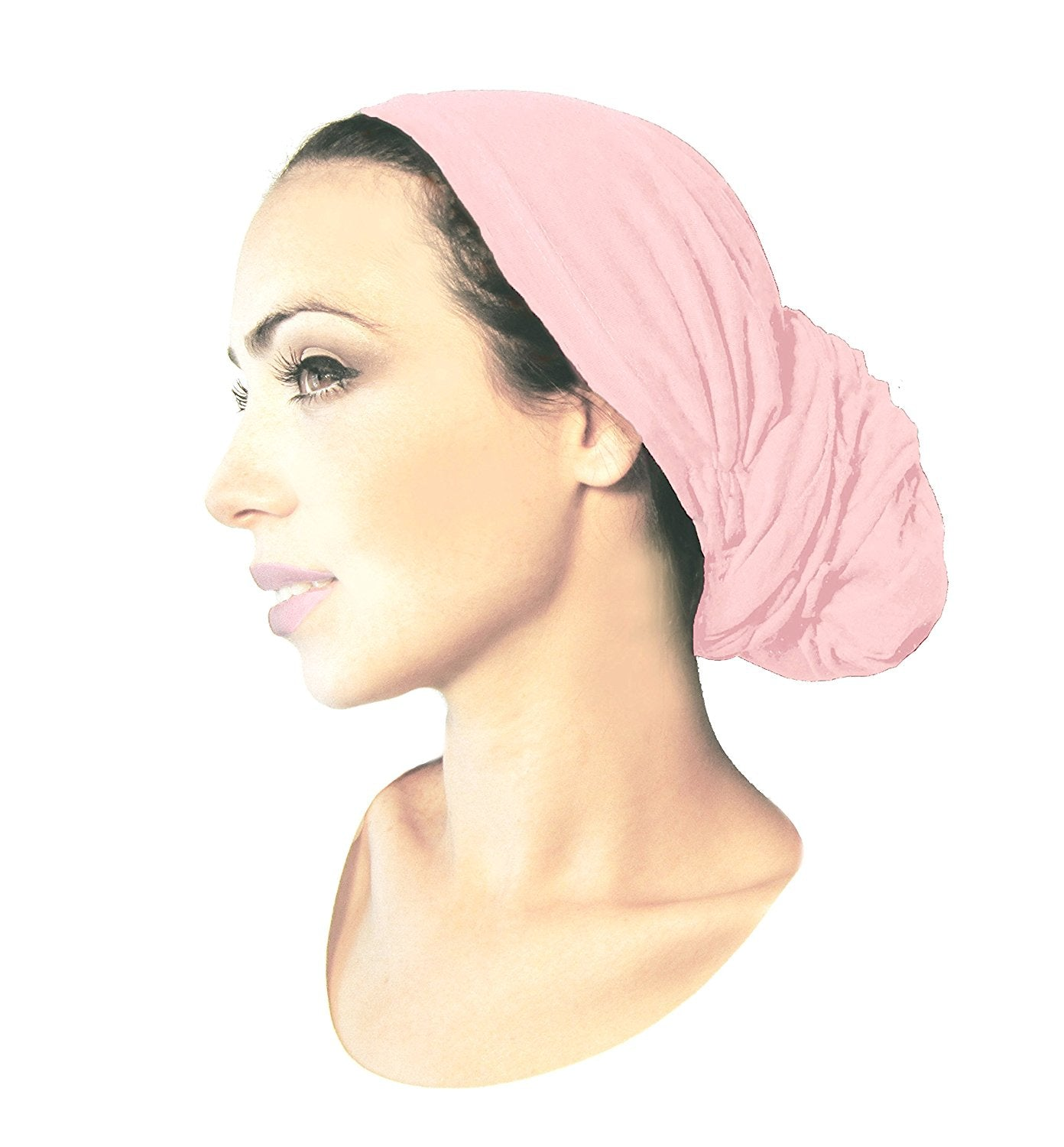 Long cotton pre-tied headscarf in soft pink