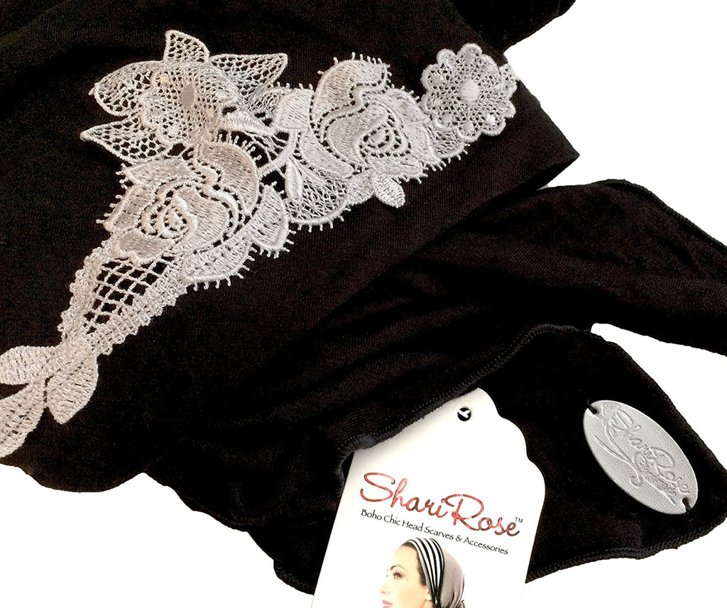 Black headscarf with silver floral applique