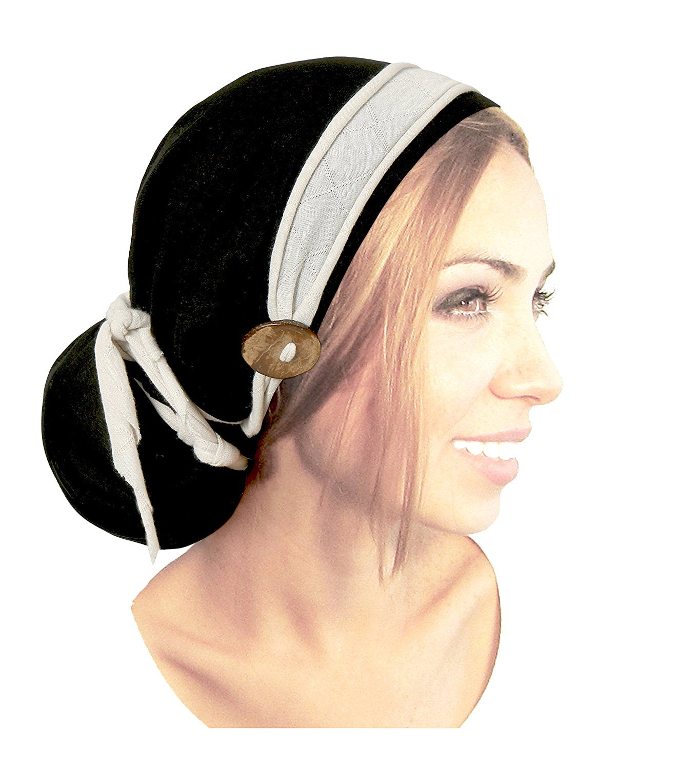 Black pre-tied headscarf cream wrap handmade coconut buttons!