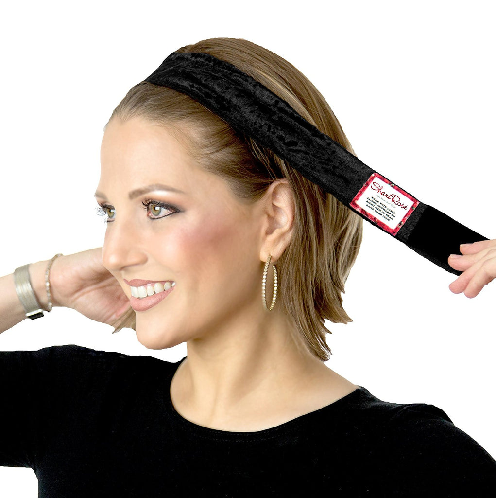 Black velour non slip headband for wig   headscarf affbf257cc54