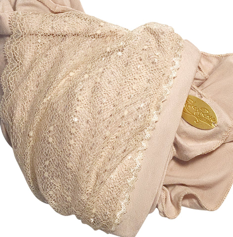 Beige pre-tied headscarf with vintage lace