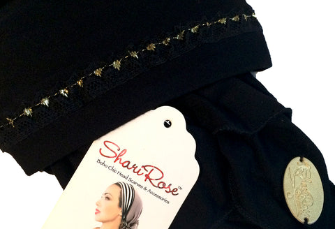 Black pre-tied headscarf with black gold lace trim