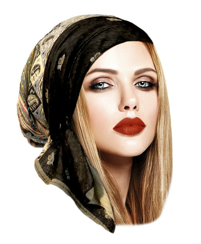 Black beige cashmere headscarf ethnic collection