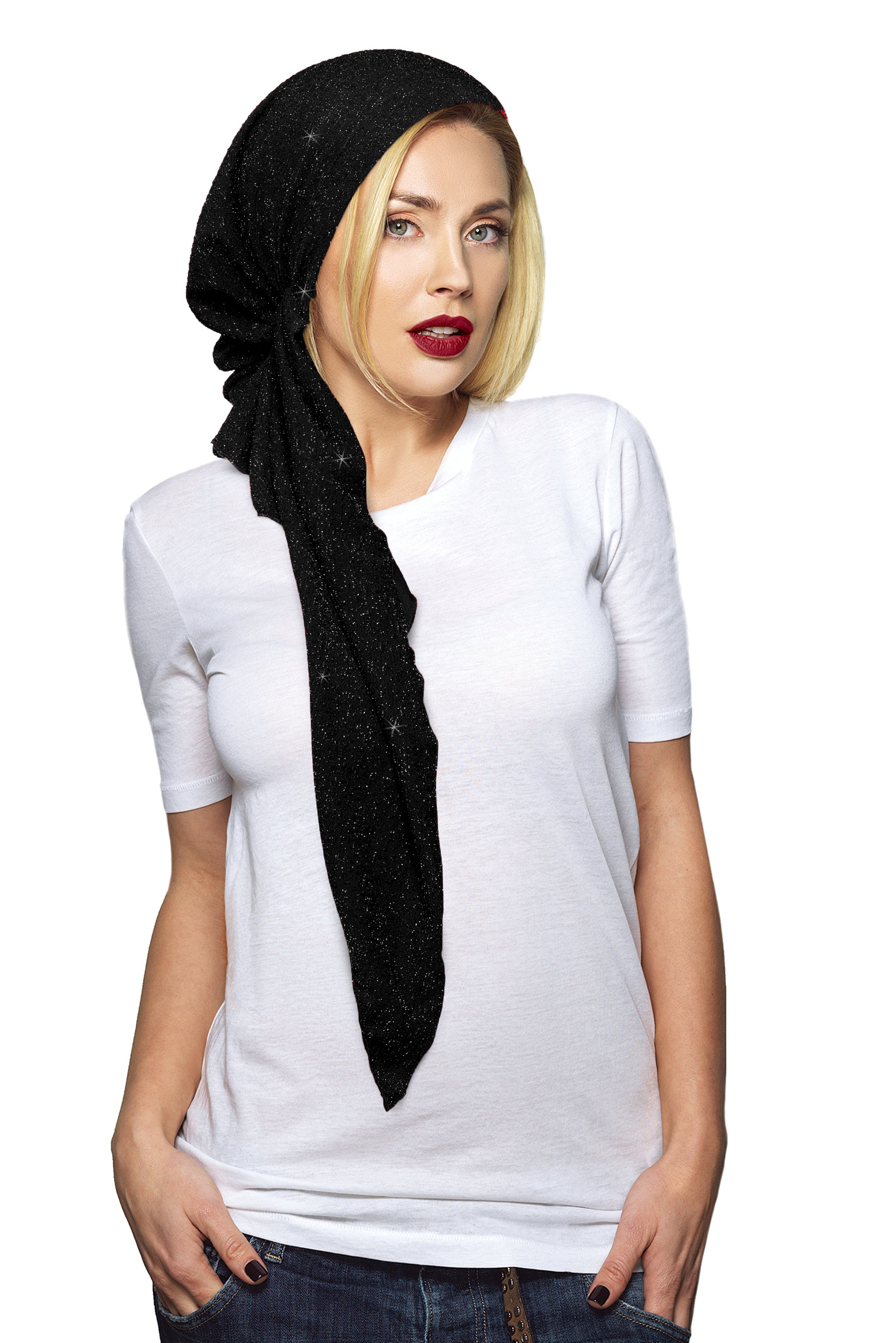 Long black boho chic headscarf with sparkle