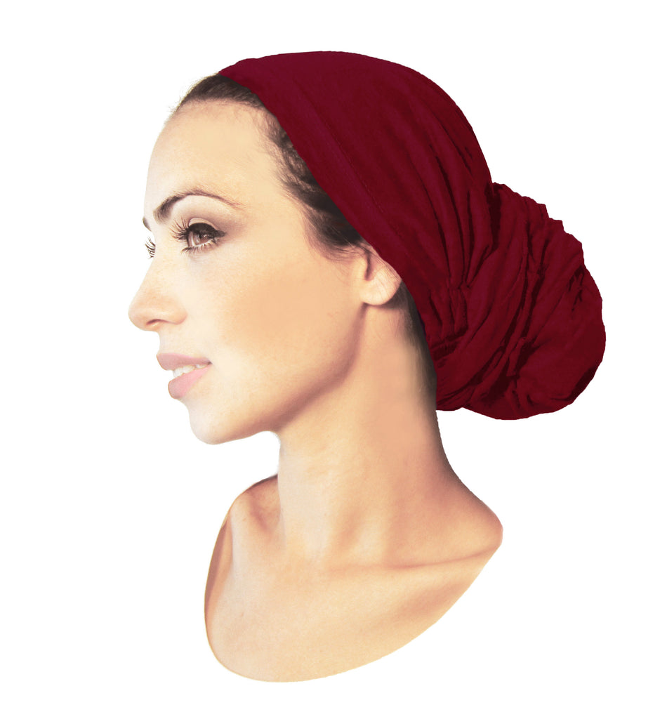Burnt Sienna red long soft cotton pre-tied headscarf