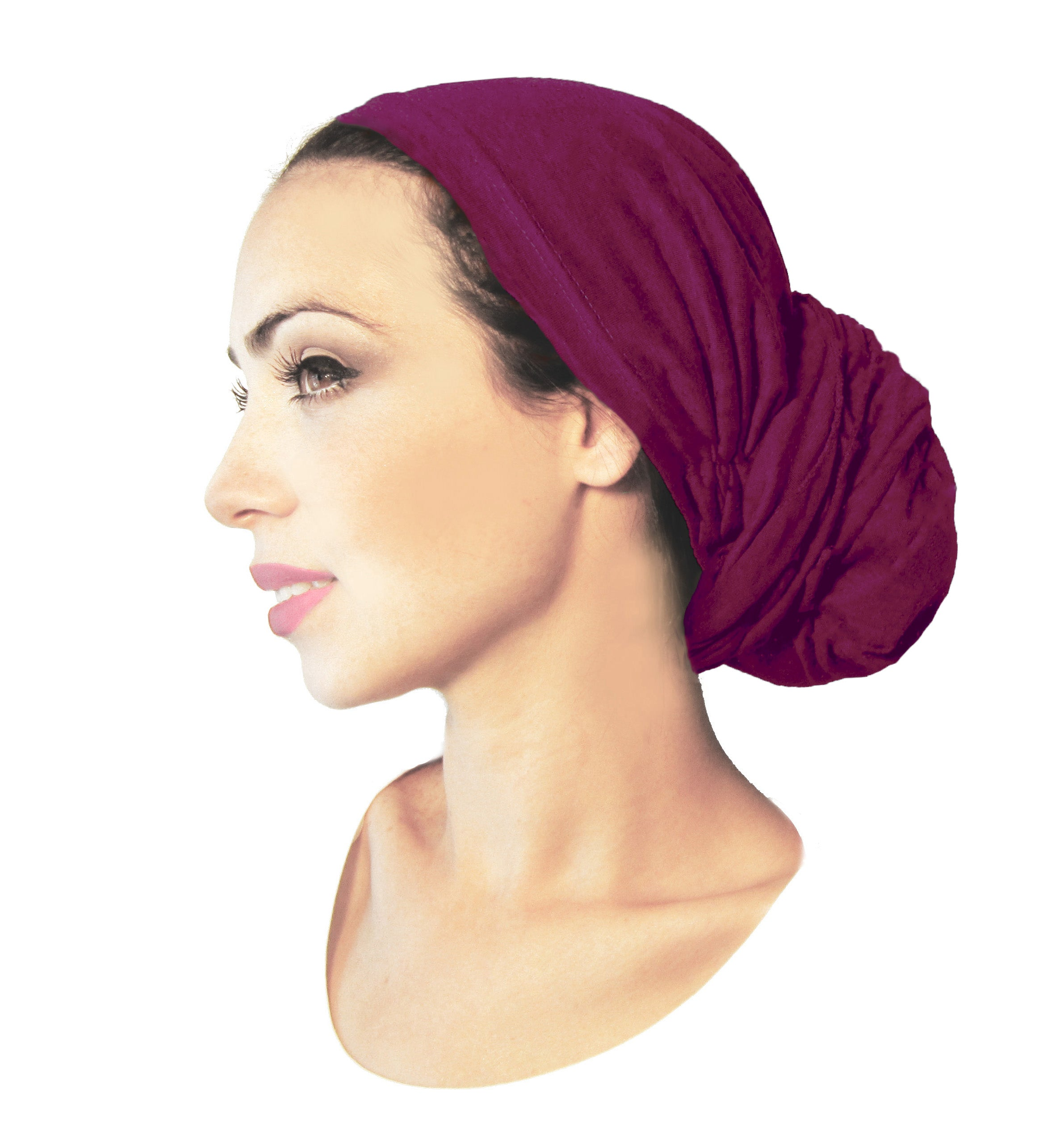 Long versatile soft cotton pre-tied headscarf in fuchsia