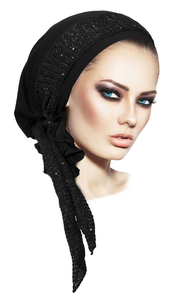 Black boho chic pre tied headscarf with sparkly knit wrap