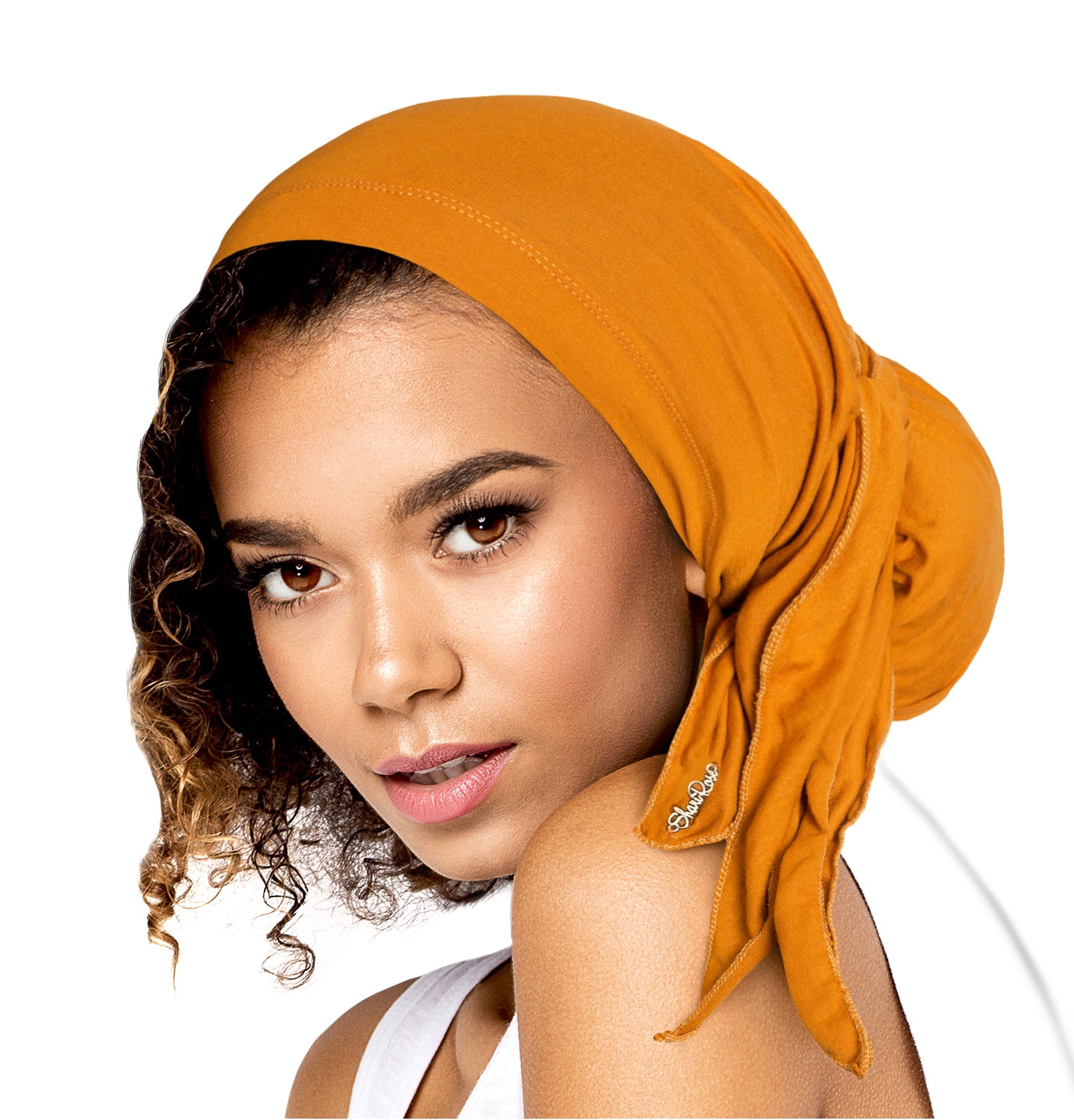 Yellow ochre long versatile soft cotton pre-tied headscarf