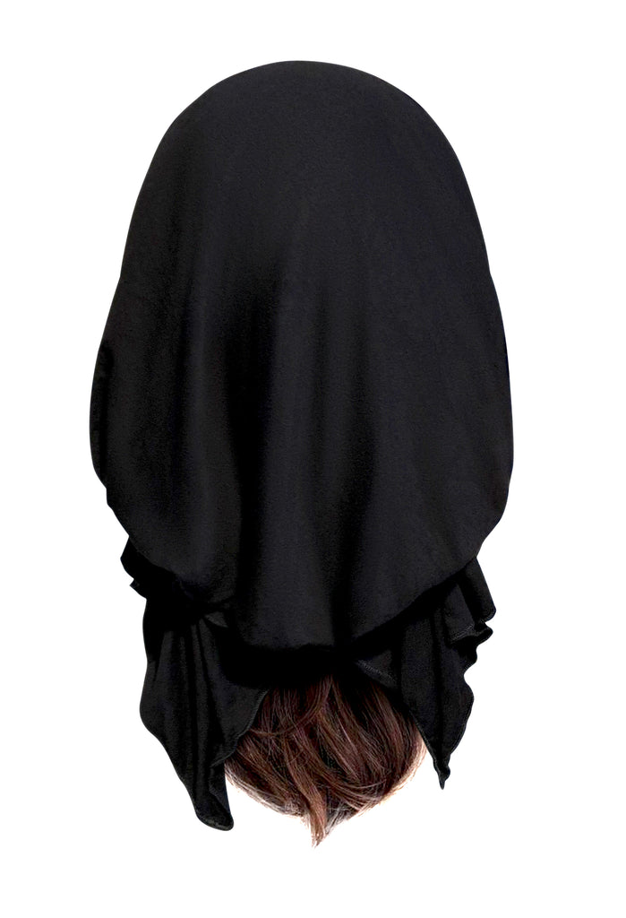 Soft cotton black pre-tied headscarf
