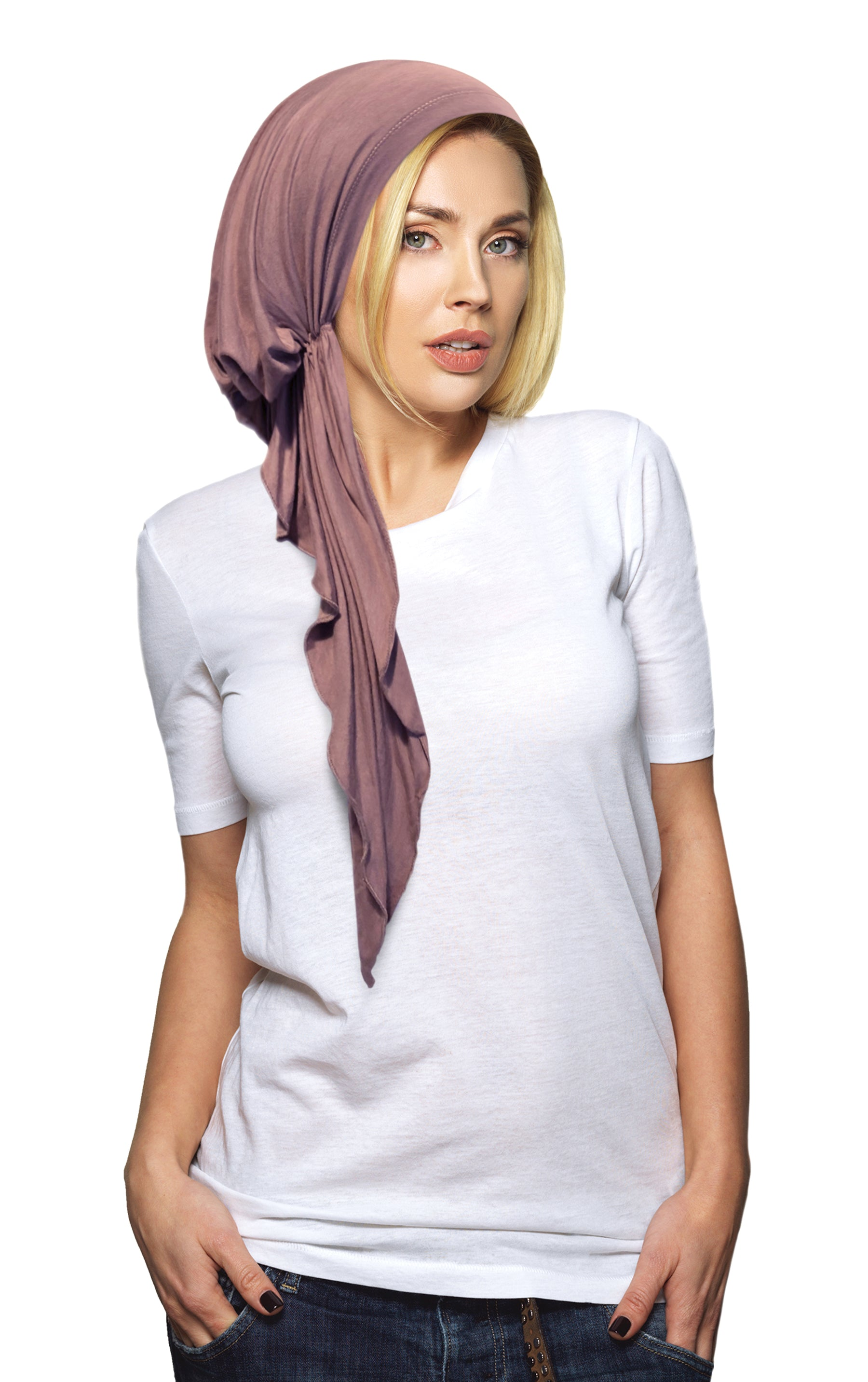 Long Lavender Pre-Tied Soft Cotton Headscarf