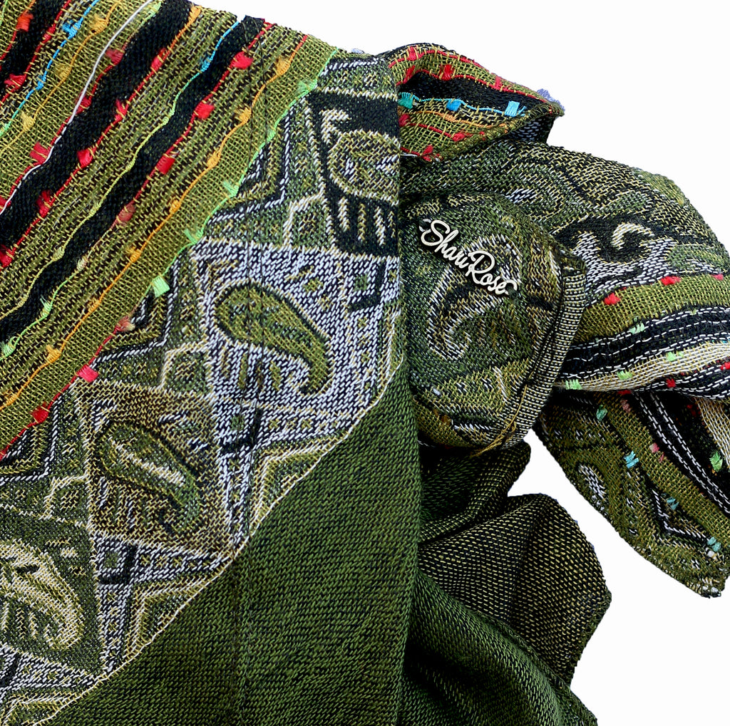 Olive green soft cashmere headscarf ethnic collection