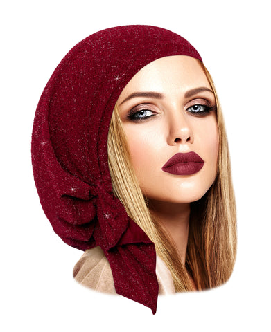 Burgundy pre tied headscarf with silver sparkles