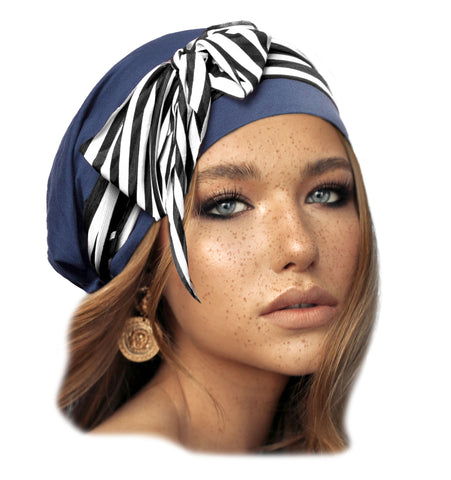 Navy blue pre-tied headscarf with stripe wrap