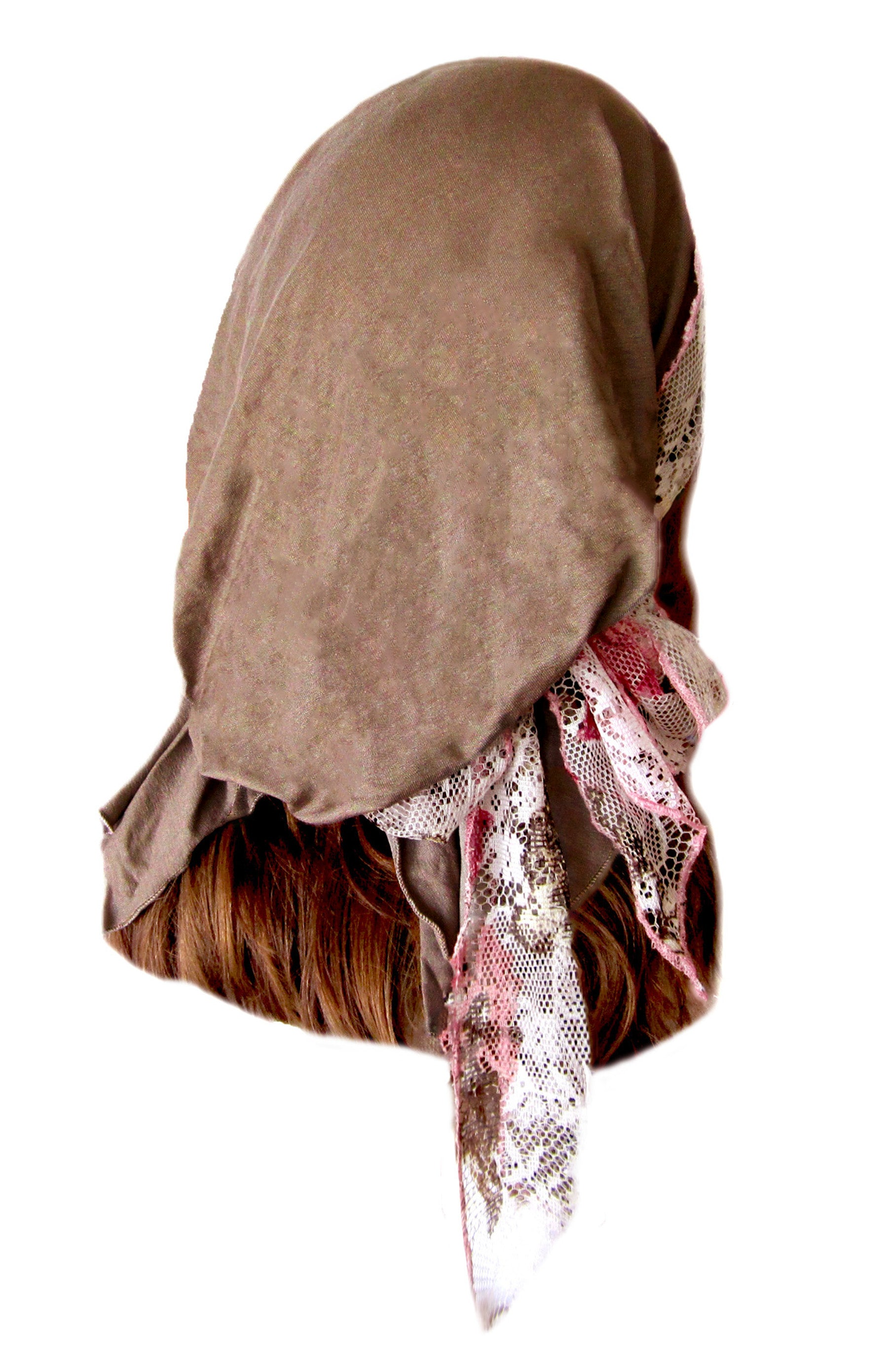 Taupe pre-tied headscarf with pink floral lace wrap