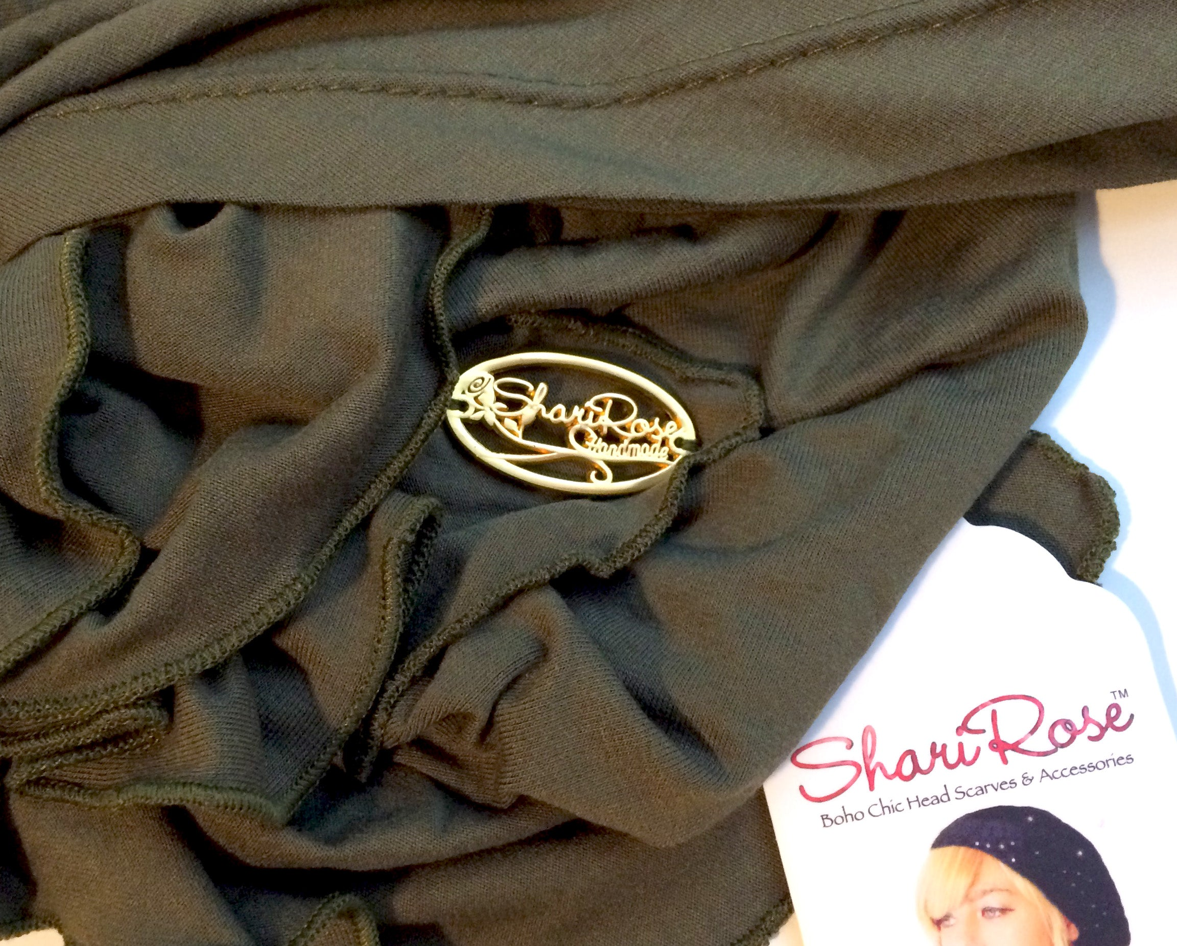 Olive green soft cotton headscarf