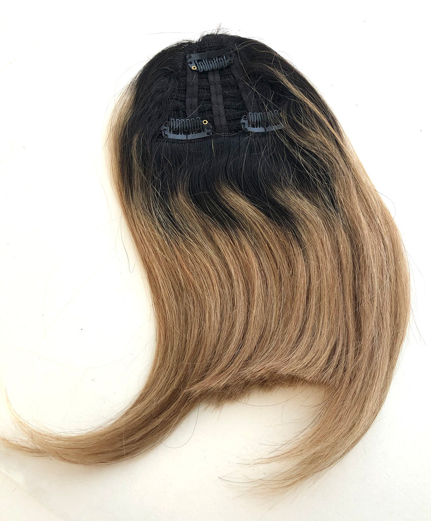 Clip in bangs hair extension mini wig 100% real human (Ombre Blonde)
