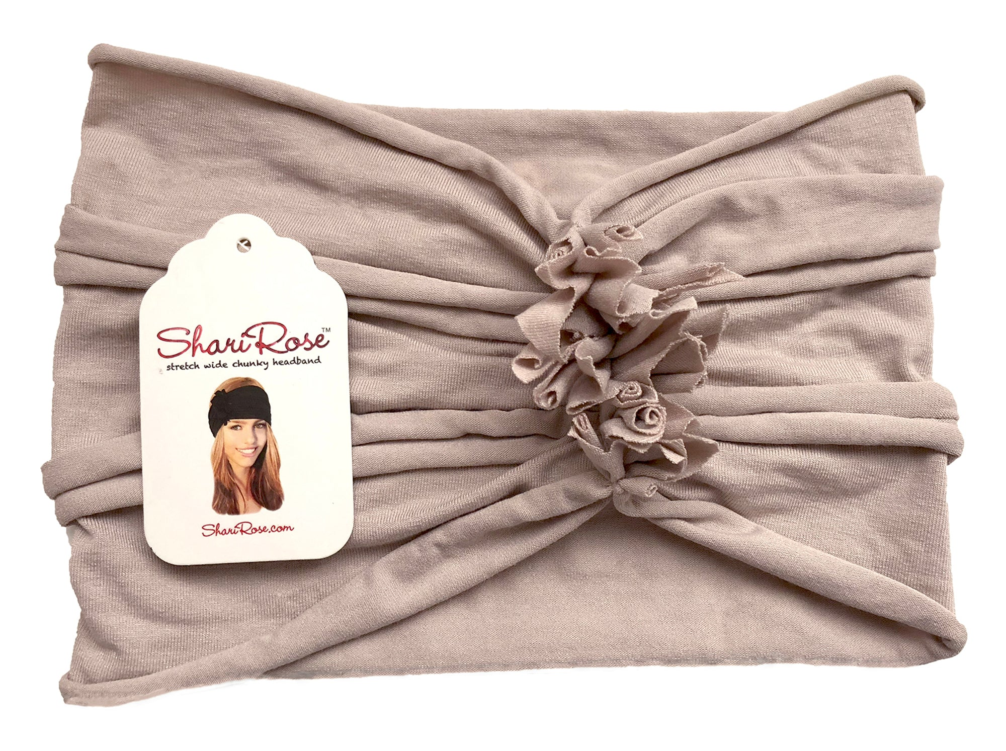 Soft cotton beige chunky turban headband