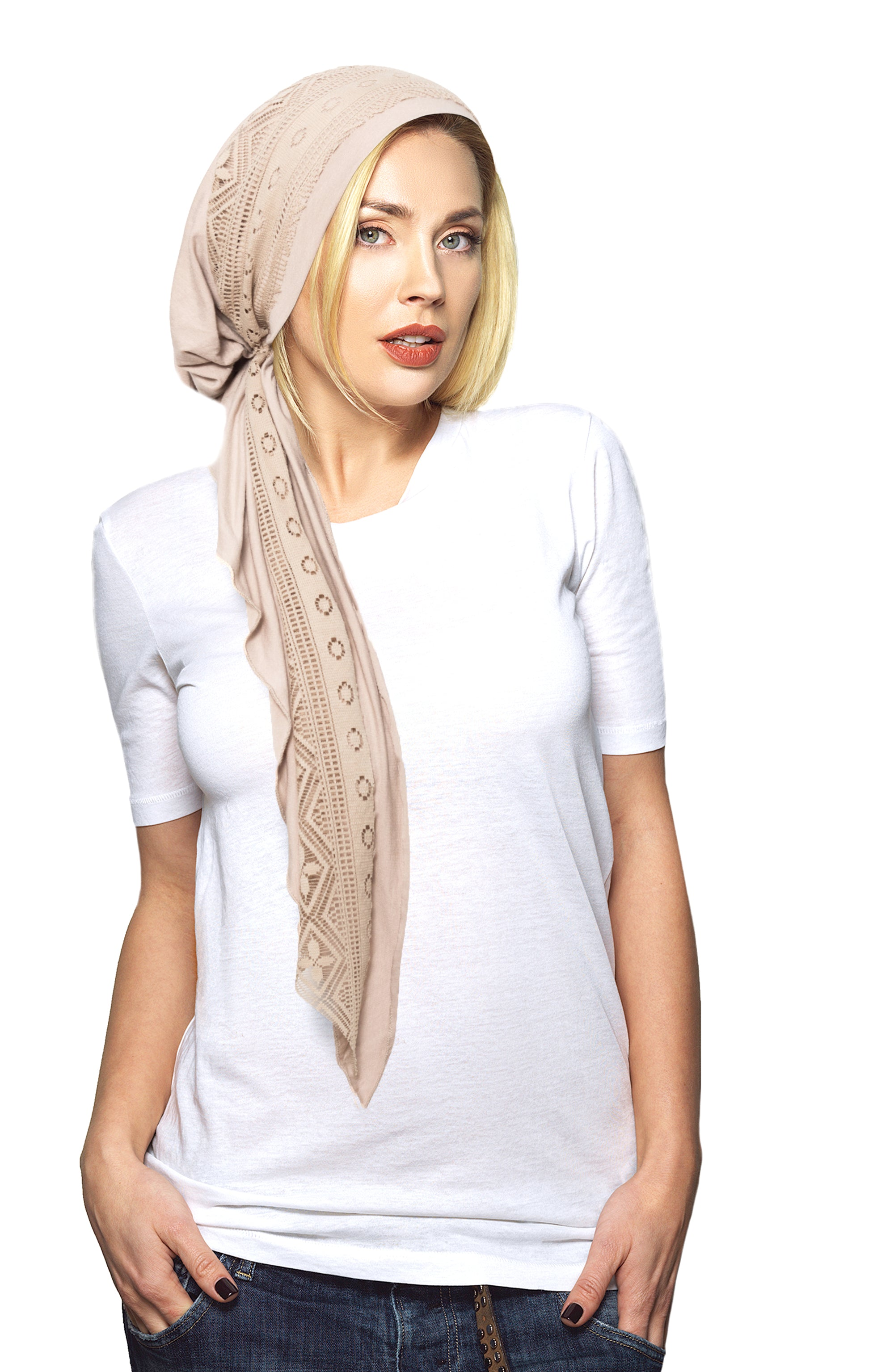 Beige pre-tied headscarf shabby chic lace wrap