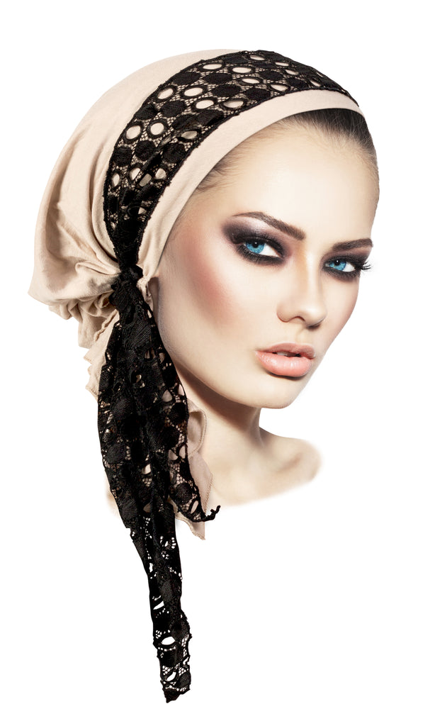 Beige pre tied headscarf with black lace wrap