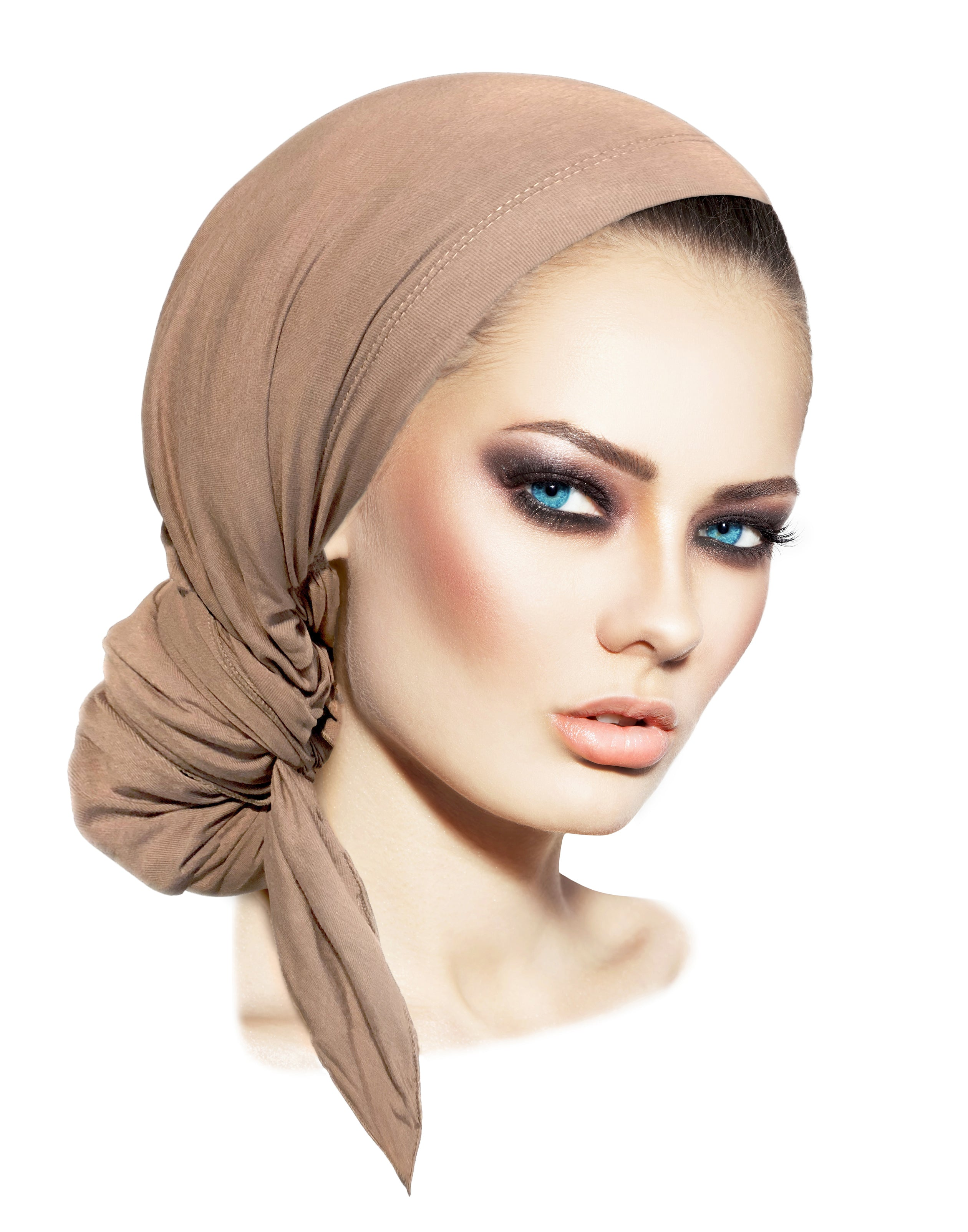 Long beige cotton headscarf