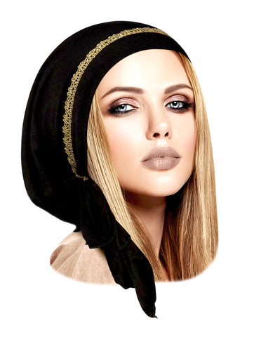 Black pre-tied headscarf with gold sparkly trim