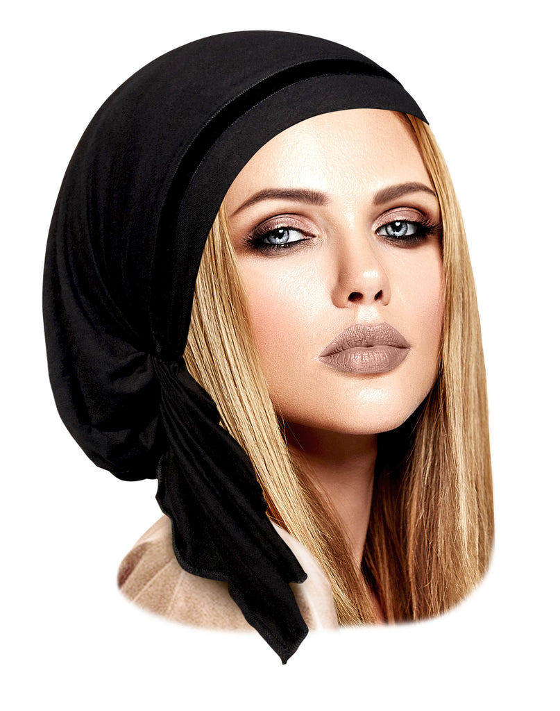 Black pre-tied headscarf with soft thin velvet trim