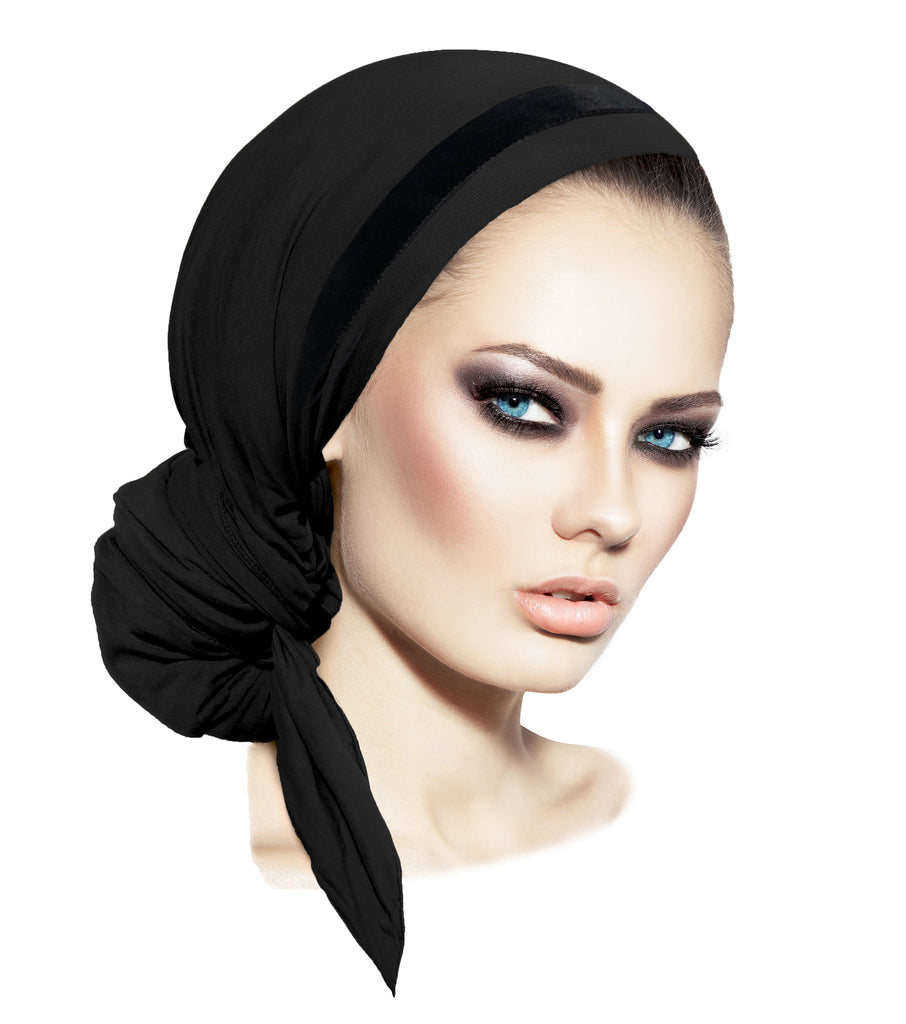 Long black pre-tied headscarf with soft velvet trim