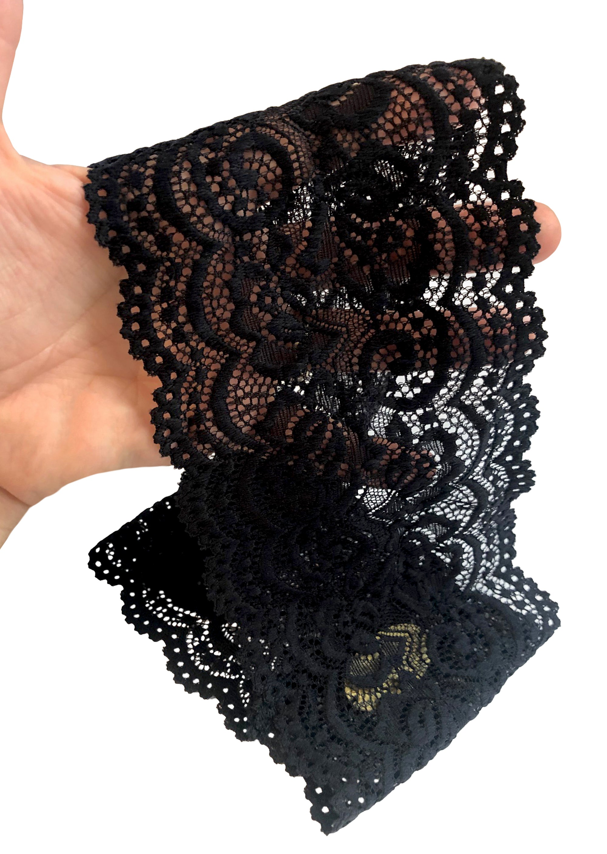 Fancy black floral lace headband