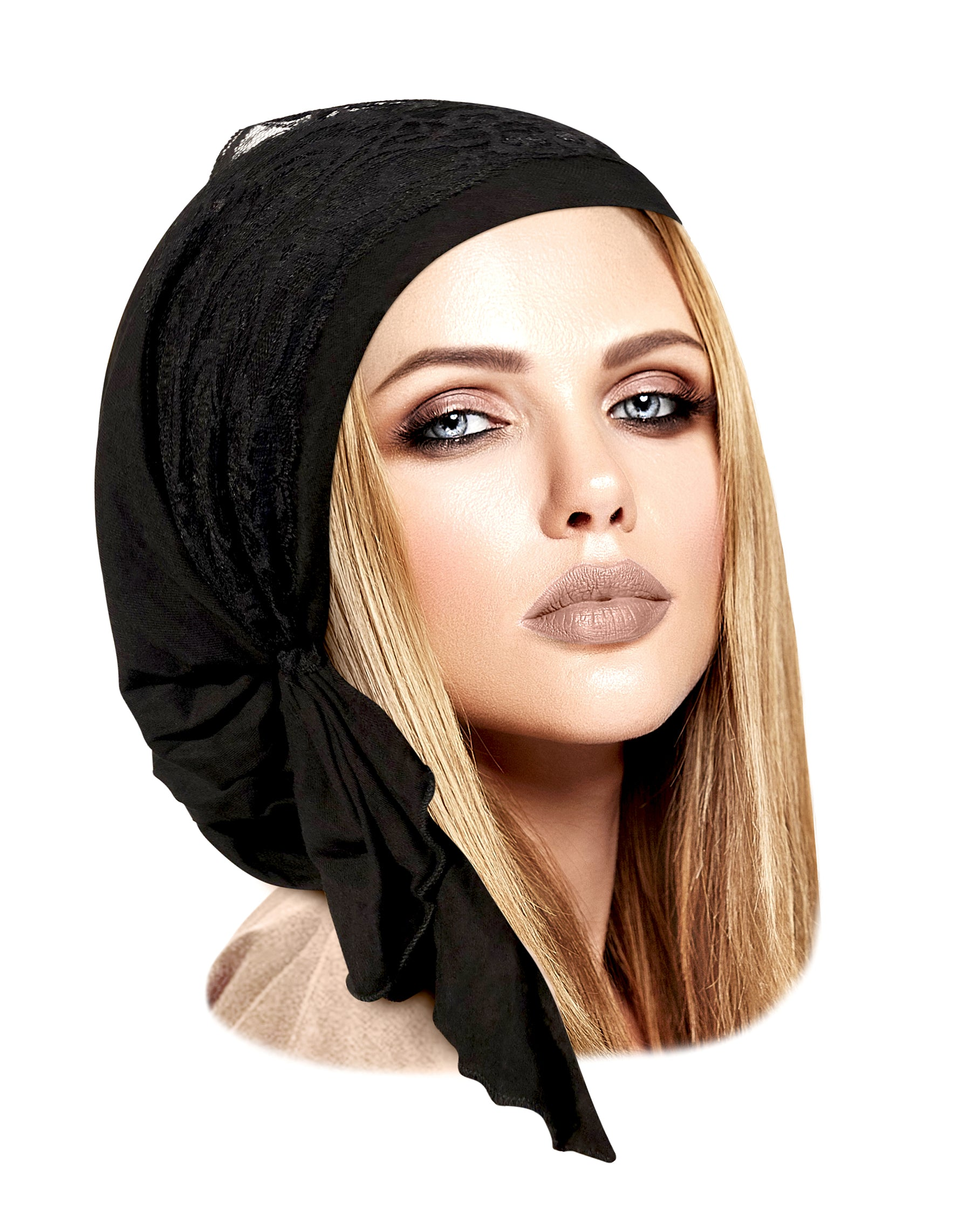 Black headscarf with vintage black lace