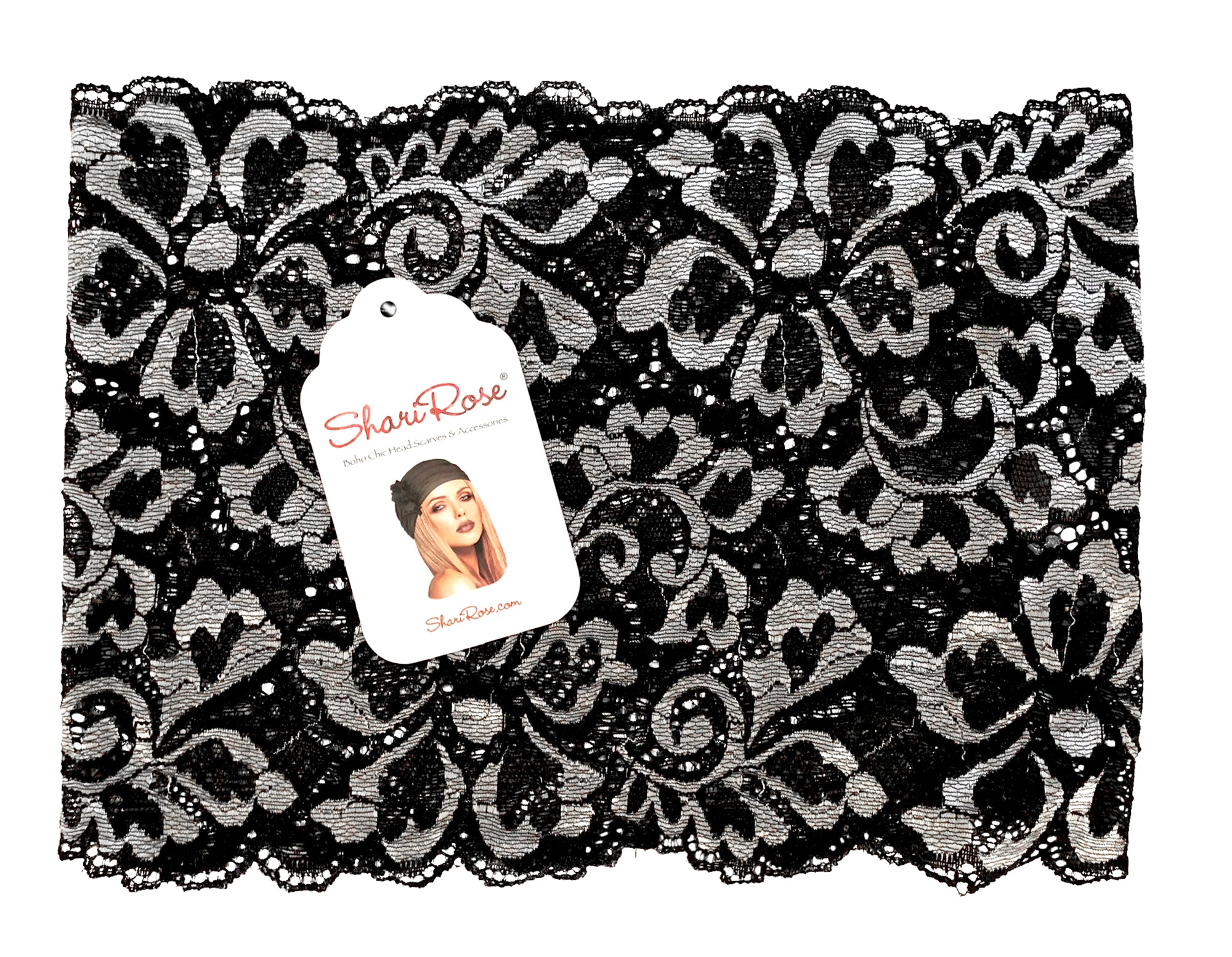 Black silver floral shabby chic lace headband