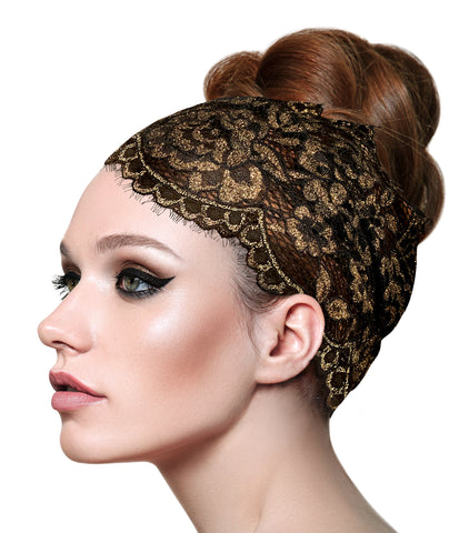 Vintage floral lace headband in black gold shimmer