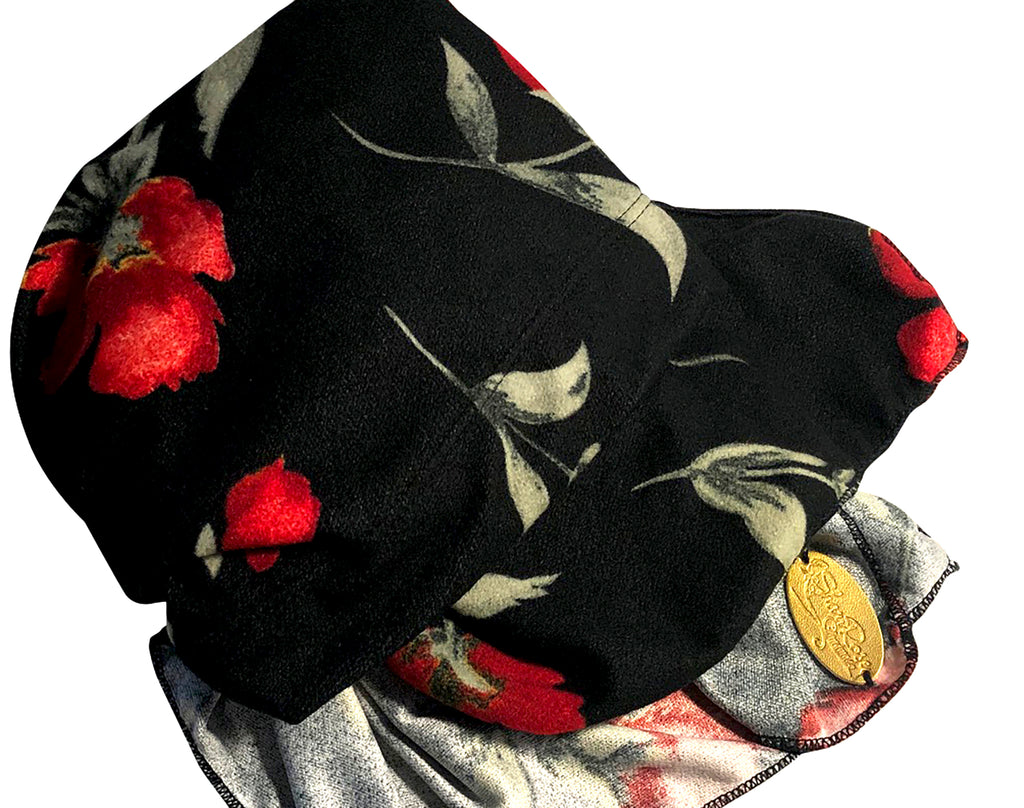 Black soft velour headscarf with red floral