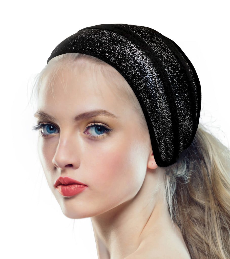 Wide turban headband in black silver cotton