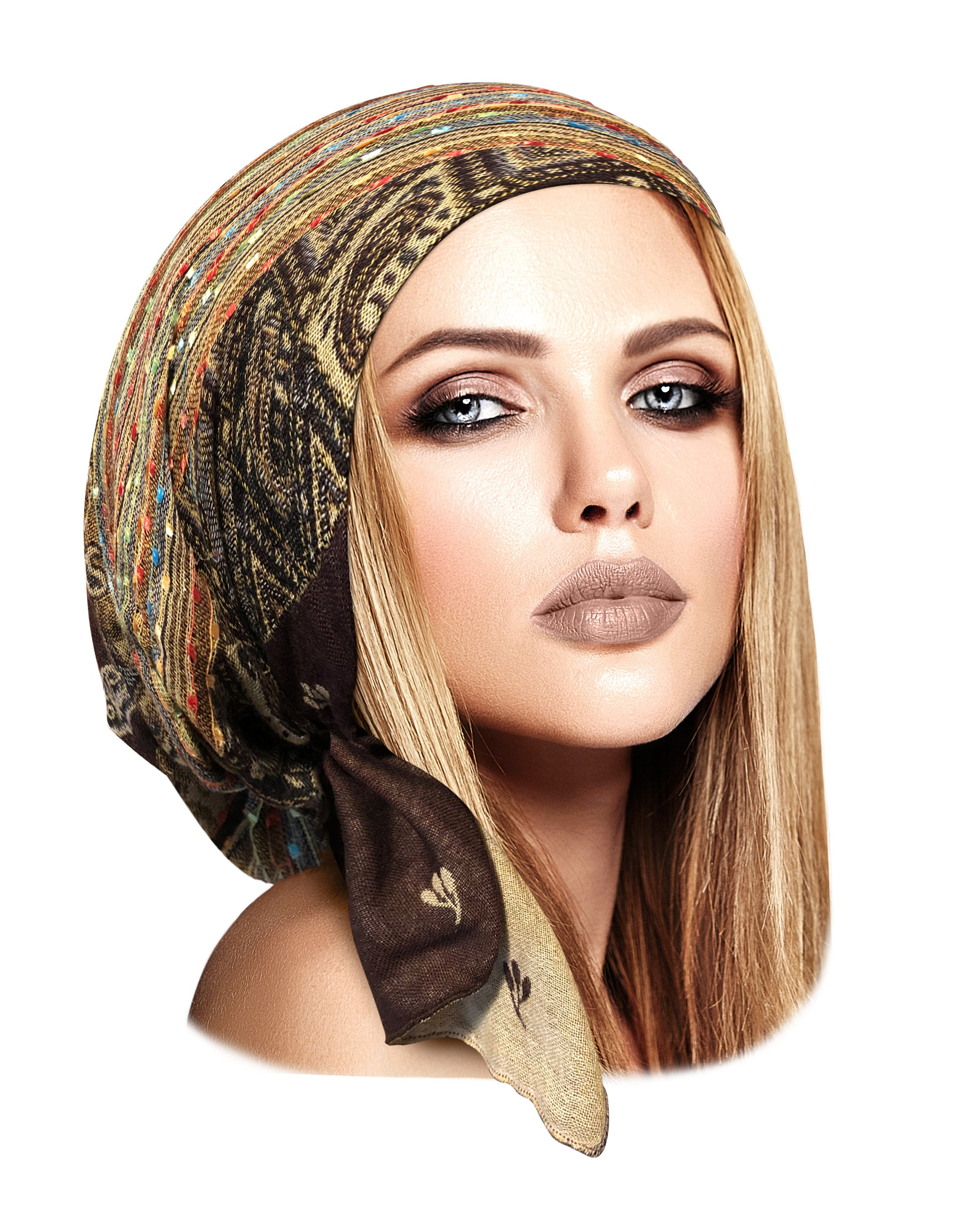 Brown cashmere pre tied headscarf