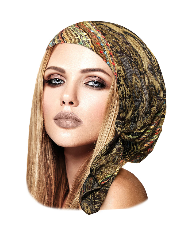 Brown boho chic cashmere pre tied headscarf