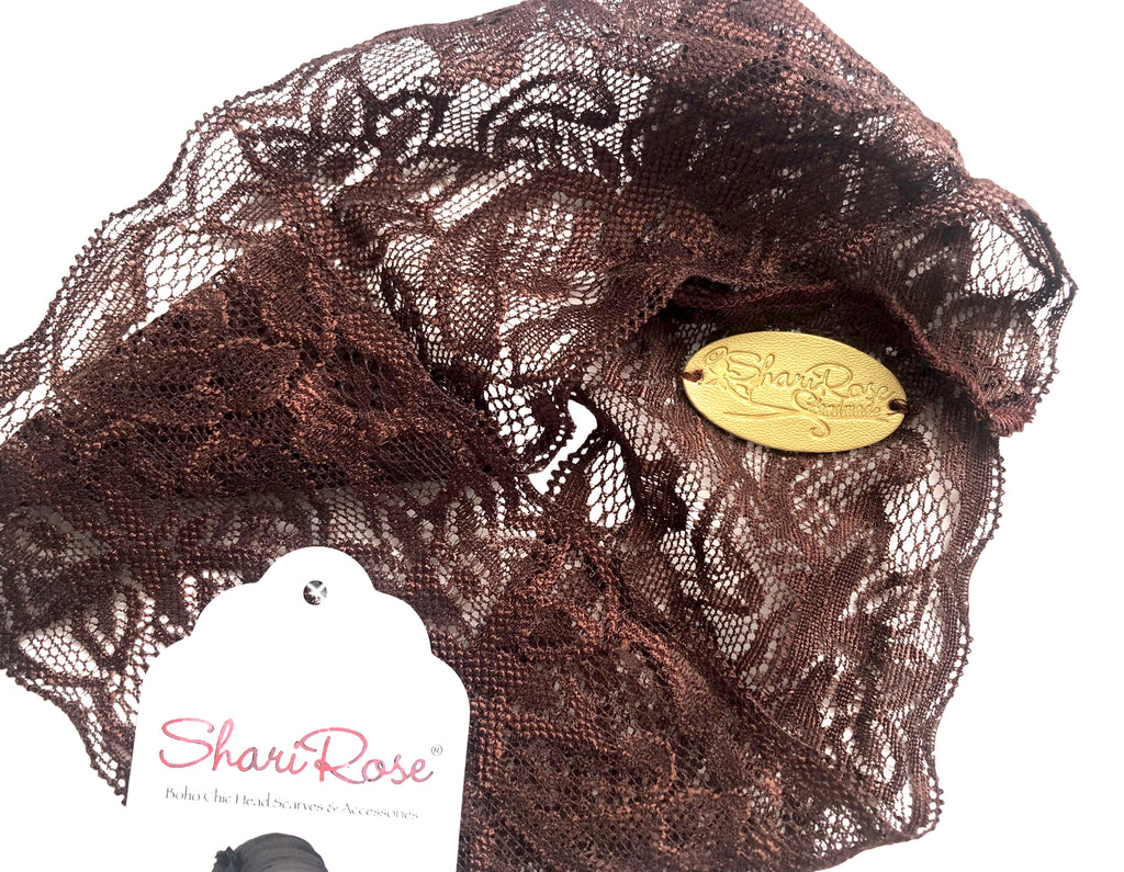 Stunning shabby chic brown floral lace headband