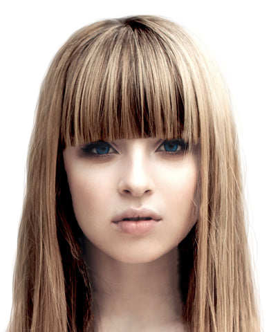 Clip in bangs 100% real human hair (brown frosted blonde highlights)