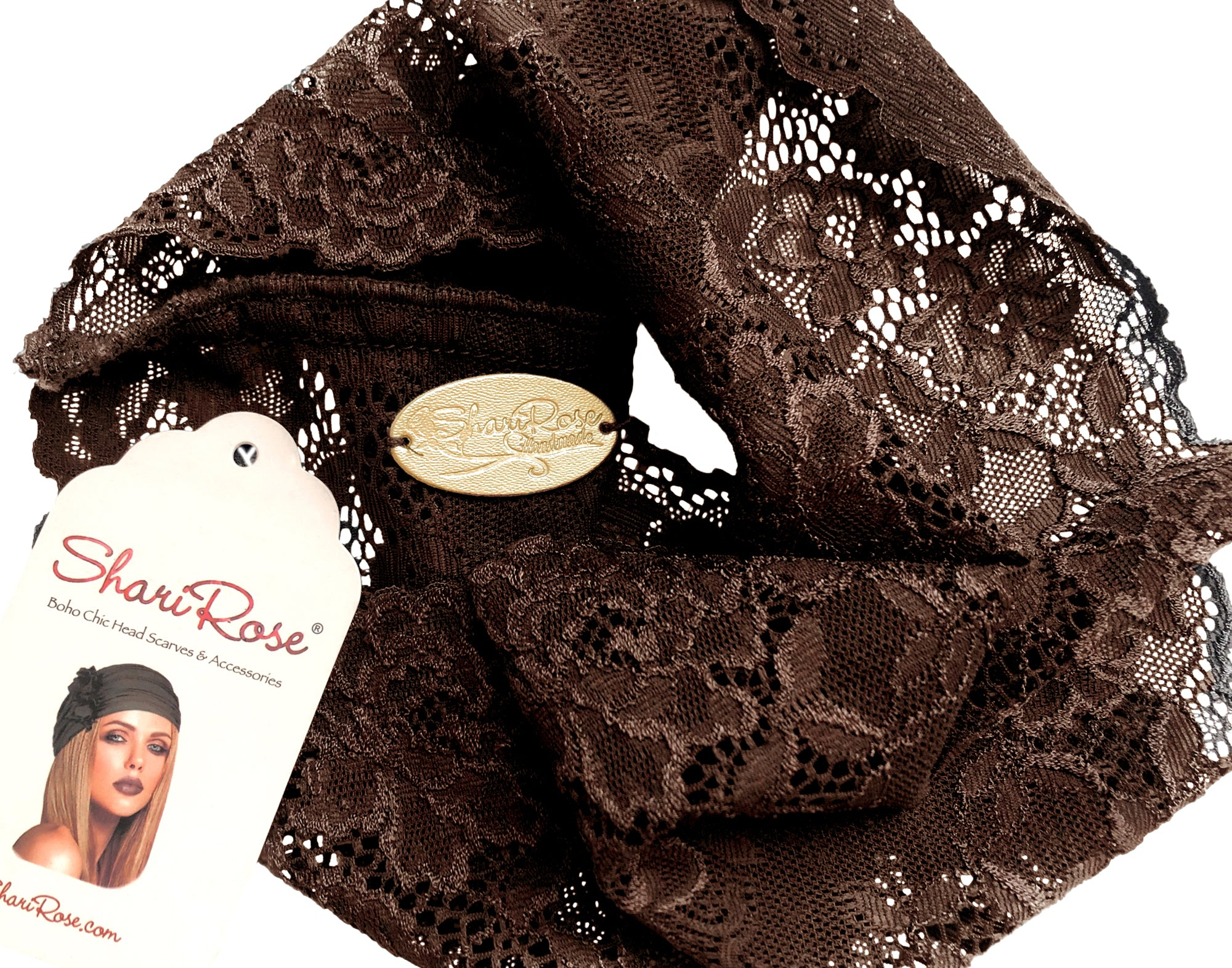 Wide shabby chic brown floral lace headband