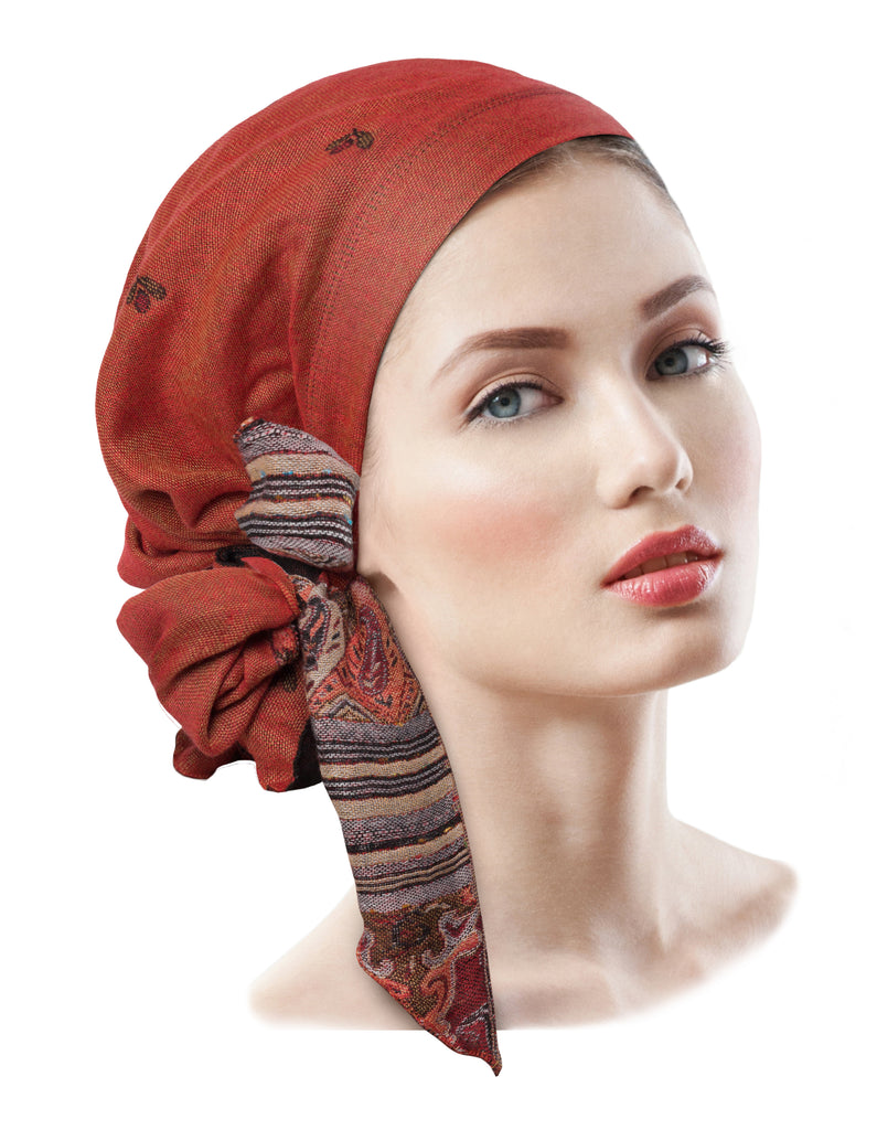 Long boho chic pre-tied headscarf ethnic collection in burnt red orange