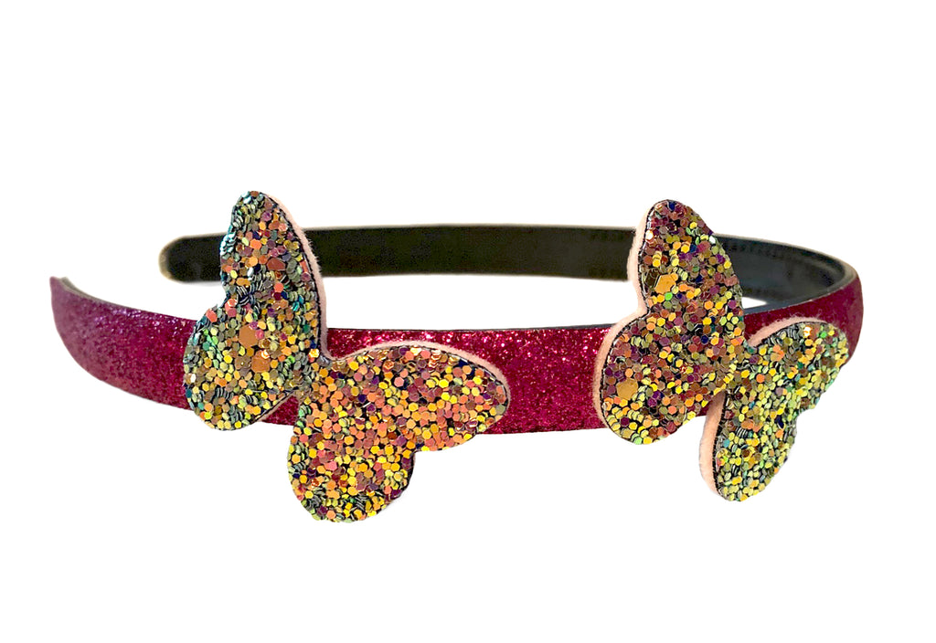 Two glitter butterflies pink glitter headband