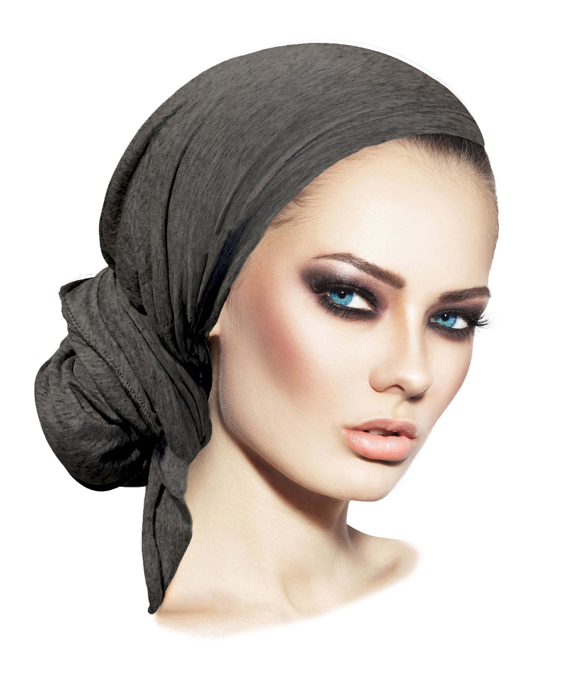 Long charcoal gray pre tied headscarf