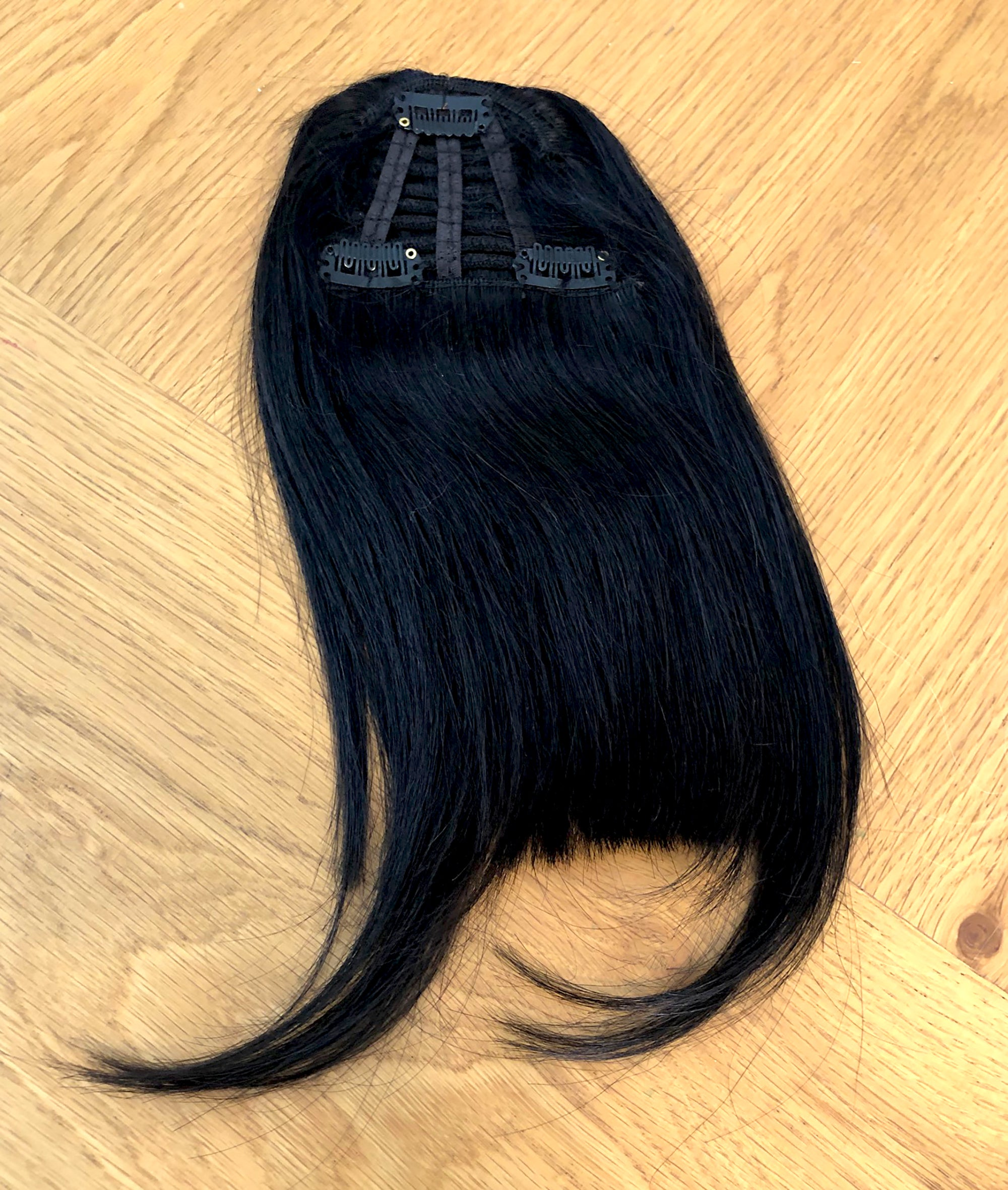 Clip in bangs hair extension mini wig 100% real human (Black)