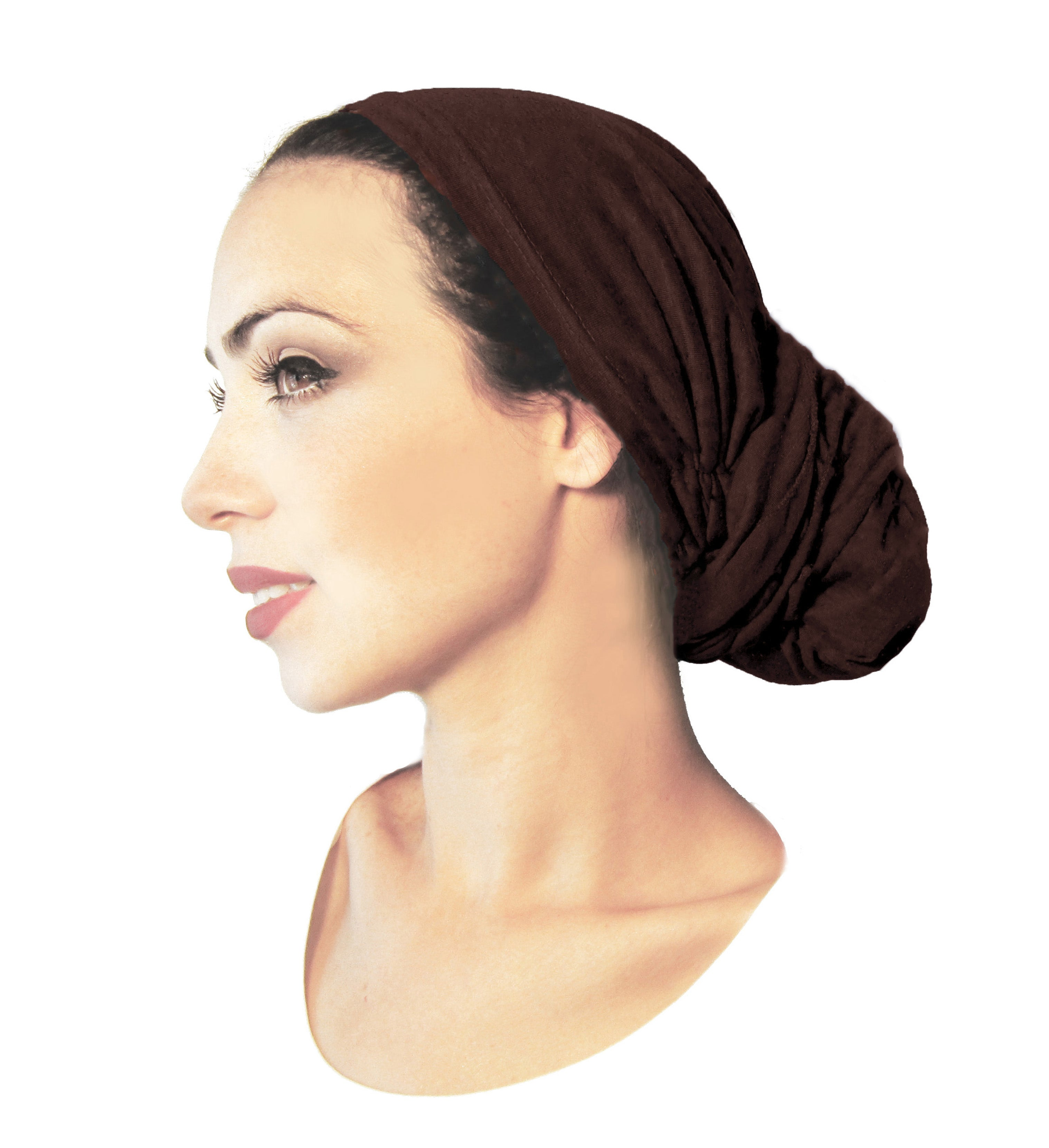 Long dark brown soft cotton pre-tied headscarf