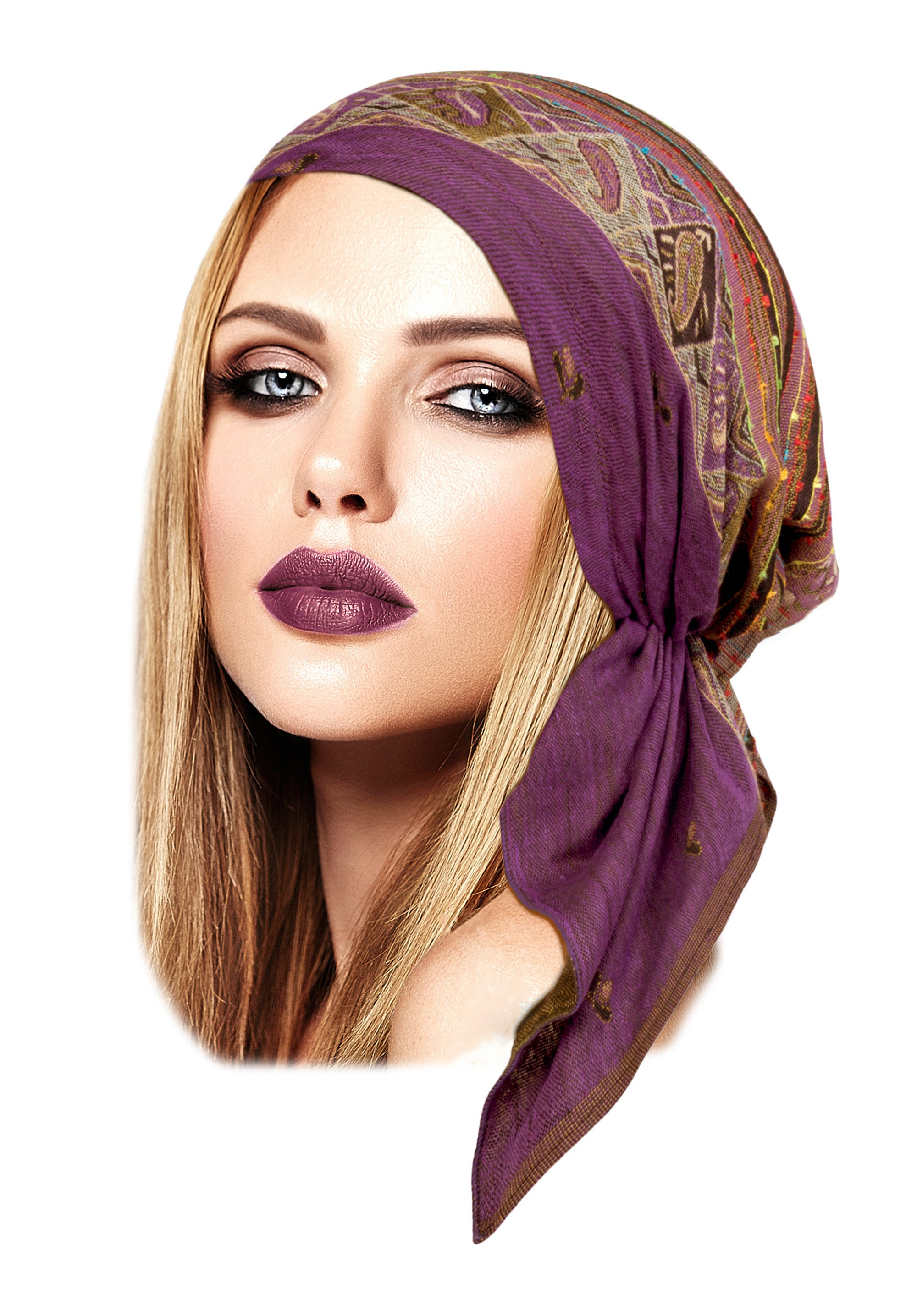 Boho chic pre-tied headscarf in mauve ethnic print