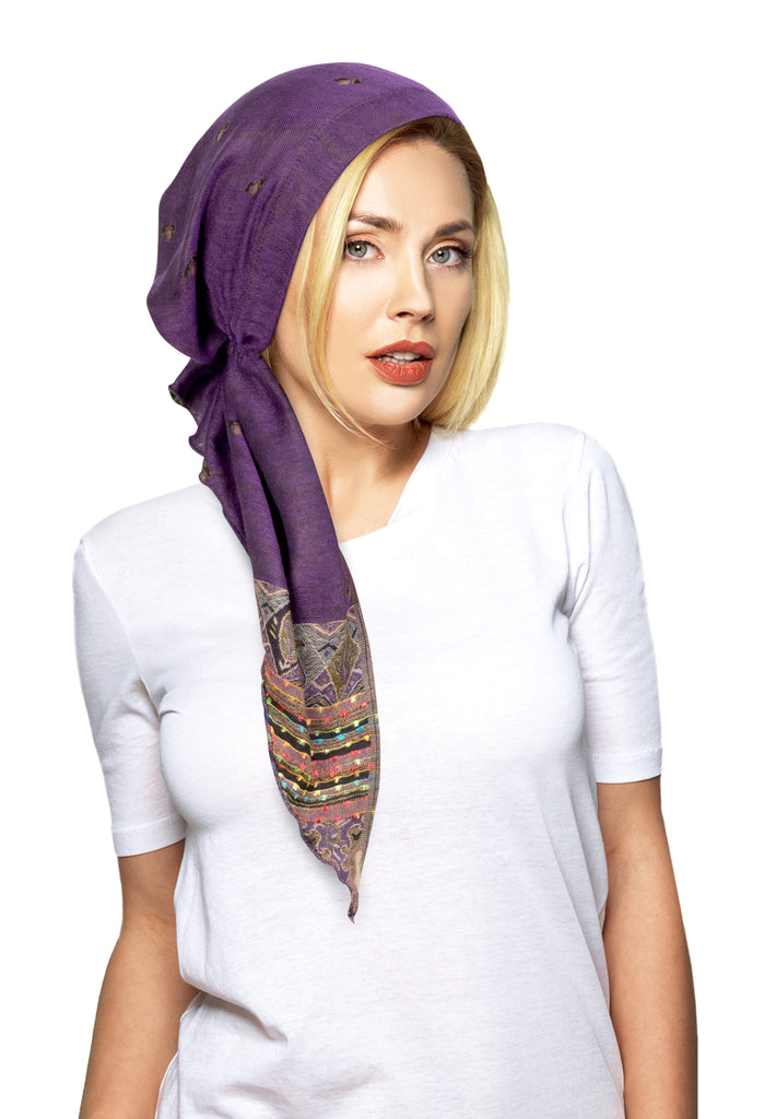 Deep purple long pre-tied cashmere headscarf