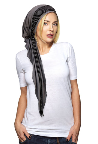 Grey pre-tied headscarf with stripe wrap