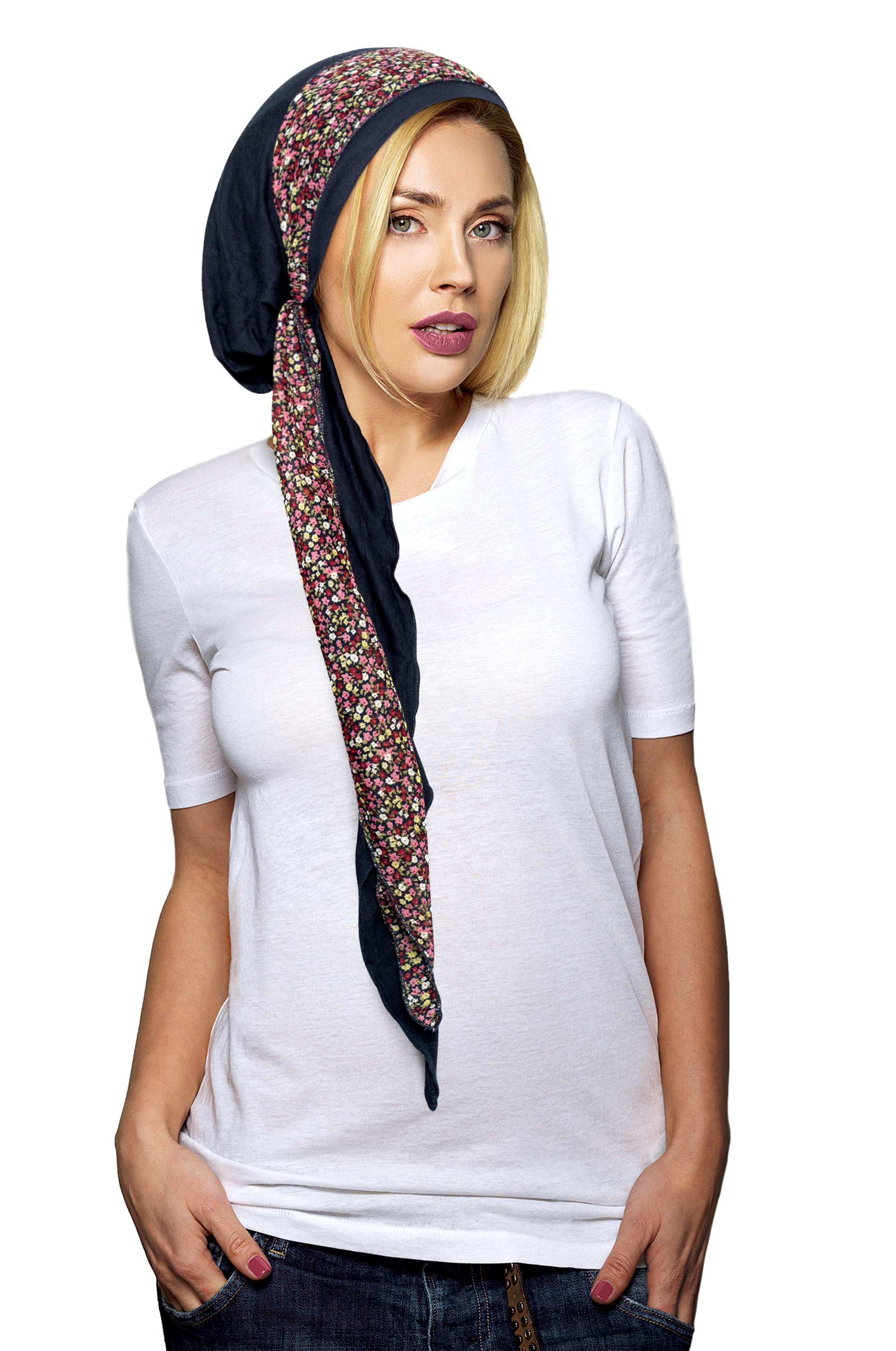 Navy blue pre-tied headscarf with chiffon floral wrap