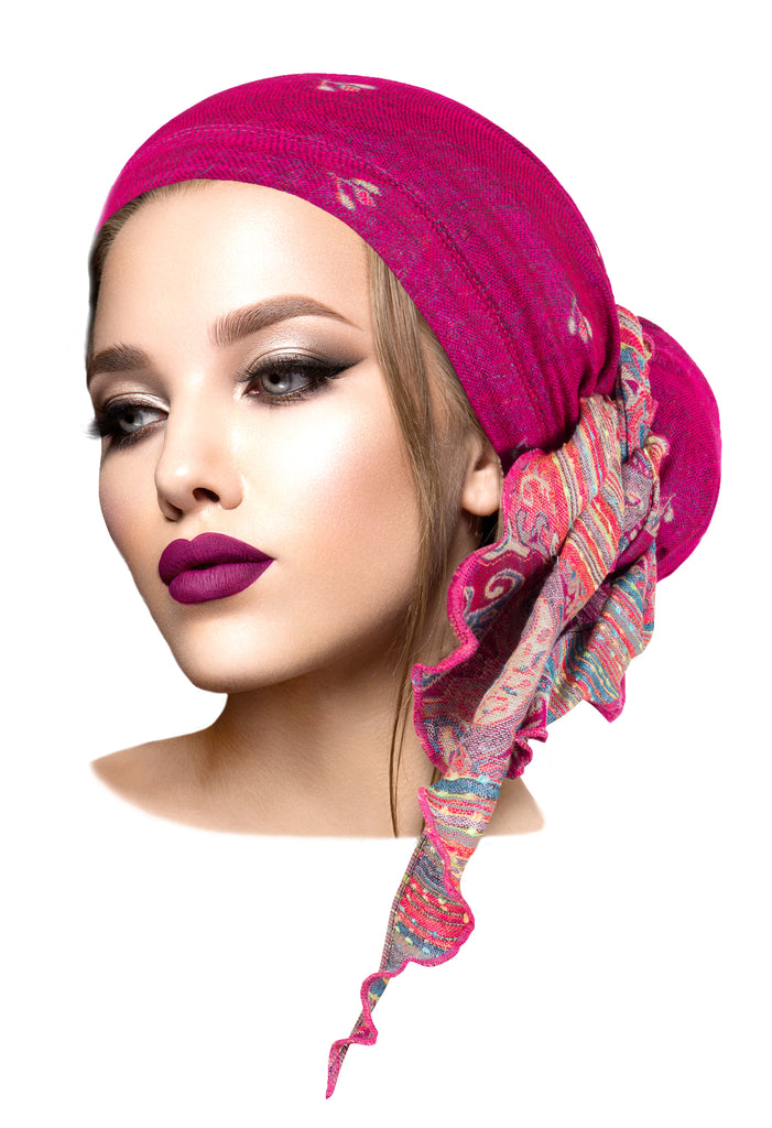 Boho chic fuchsia cashmere headscarf ethnic collection