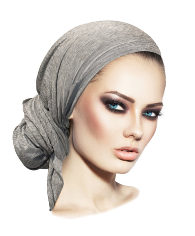 Long grey versatile pre-tied headscarf