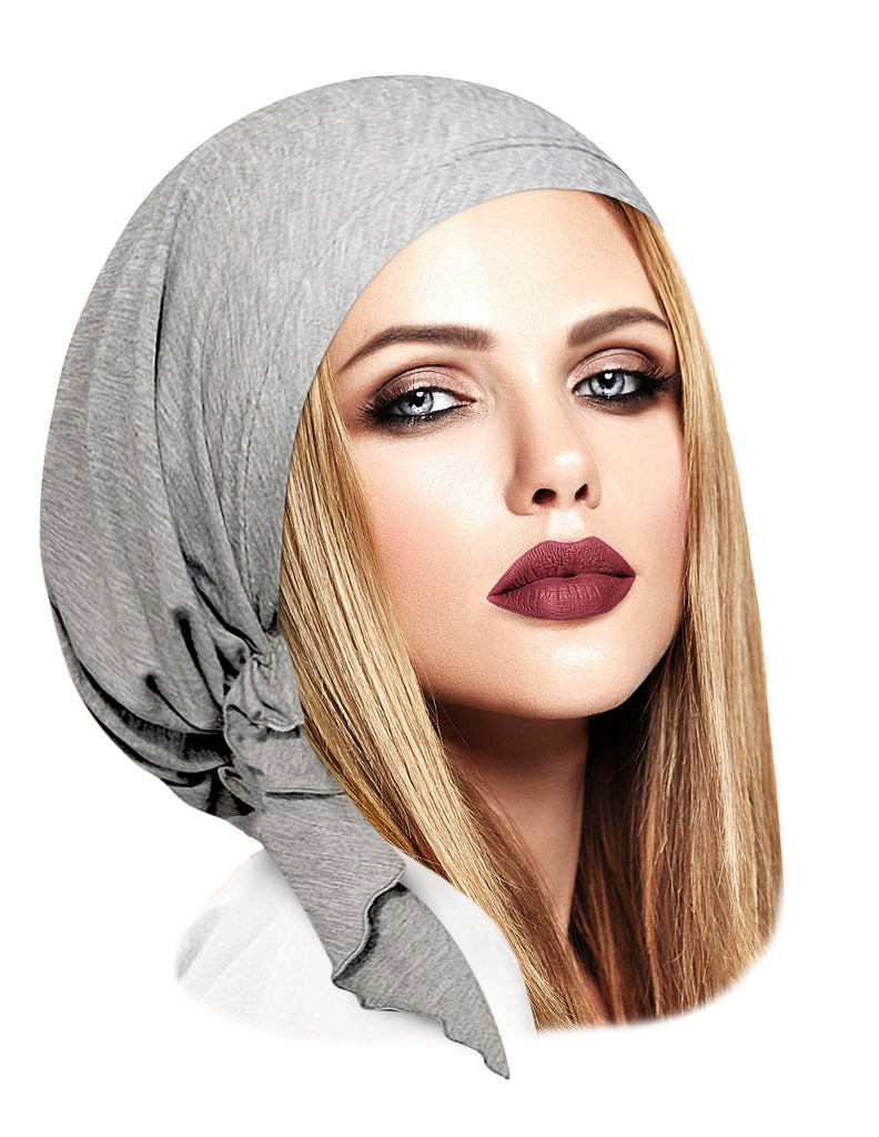 Heather grey soft cotton pre-tied headscarf